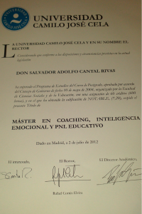 Master Coaching, Inteligencia Emocional y PNL, Salvador Cantal