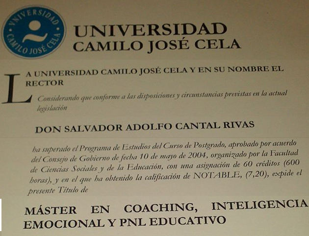 Master Universitario en Coaching, Inteligencia Emocional y PNL Educativo.